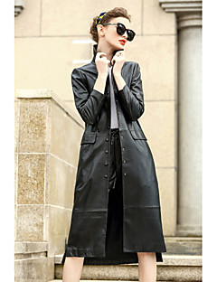 Damen Solide Einfach Lässig/Alltäglich Mantel,Hemdkragen Herbst Lange Ärmel Standard Wolle Baumwolle