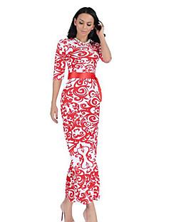 Γυναικείο Καθημερινά Εφαρμοστό Φόρεμα,Στάμπα Μισό μανίκι Στρογγυλή Λαιμόκοψη Μακρύ Πολυεστέρας Καλοκαίρι Ψηλοκάβαλο Ανελαστικό Λεπτό