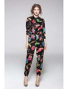 Feminino Camisa Calça Conjuntos Casual Simples Outono,Sólido Estampado Colarinho de Camisa Manga Longa