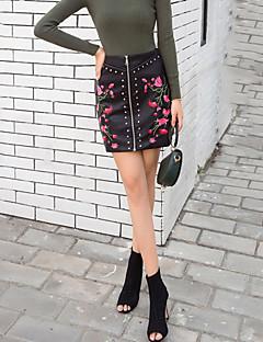 Femme Chic de Rue Sortie Décontracté / Quotidien Au dessus des genoux Jupes,Moulante Brodée Fleur Automne Hiver