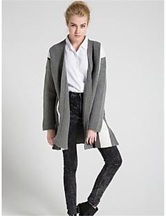 Damen Standard Strickjacke-Lässig/Alltäglich Einfach Gestreift V-Ausschnitt Langarm Wolle Herbst Winter Dick Mikro-elastisch