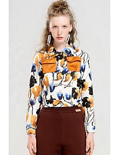 Feminino Jaqueta Para Noite Simples Outono,Estampado Padrão Poliéster Colarinho de Camisa Manga Longa