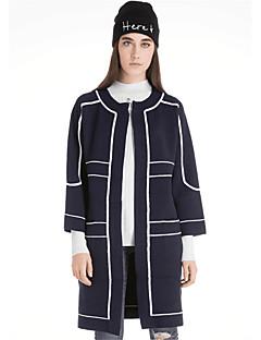 Damen Lang Strickjacke-Lässig/Alltäglich Einfach Solide Druck Rundhalsausschnitt Langarm Wolle Baumwolle Polyester Herbst Winter Dick