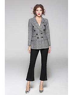 Feminino Terno Para Noite Casual Moda de Rua Primavera Outono,Sólido Geométrica Padrão Lã Colarinho de Camisa Manga Longa