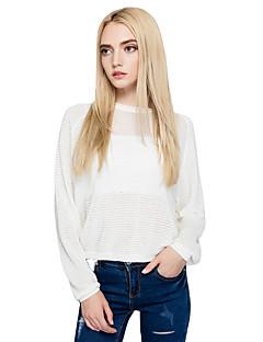 Damen Kurz Pullover-Ausgehen Lässig/Alltäglich Einfach Street Schick Solide Rundhalsausschnitt Langarm Baumwolle Herbst Winter Dünn