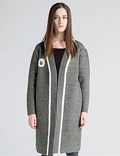 Damen Lang Strickjacke-Lässig/Alltäglich Einfach Solide Druck Einfarbig Halter Langarm Wolle Acryl Polyester Herbst Winter Dick