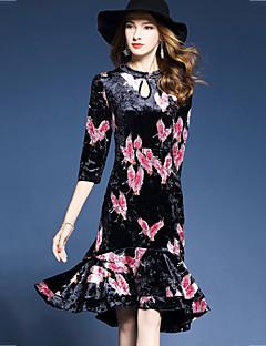 Kadın Dışarı Çıkma Çin Stili Trompet/Balık Elbise Desen Kırk Yama,3/4 Kol Yuvarlak Yaka Asimetrik Pamuklu Polyester Sonbahar Normal Bel