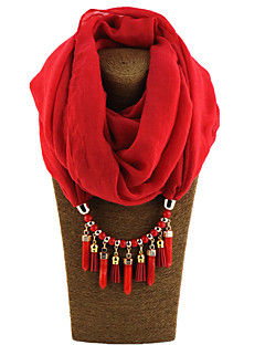 Women's Alloy Resin with Metal Clip 47%Wool25%Cotton 28%linen Infinity Scarf Solid All Seasons