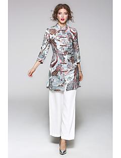 Damen Solide Druck Stickerei Einfach Lässig/Alltäglich T-Shirt-Ärmel Hose Anzüge,Ständer Herbst ¾ Ärmel