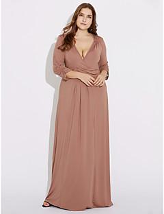 Γυναικεία Φόρεμα Σουρωτά Βαθύ V Μακρύ ¾ Μανίκι Πολυεστέρας