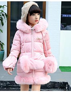 Genç Kız Pamuklu Polyester Solid Kış Uzun Kol Şişme ve Pamuk Pedli