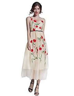 Feminino Evasê Bainha Vestido,Para Noite Casual Moda de Rua Bordado Decote Redondo Médio Sem Manga Algodão Verão Outono Cintura Alta Sem