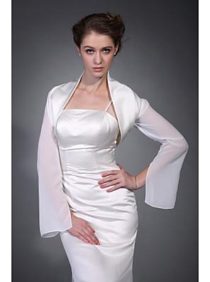 hosszú ujjú szatén sifon menyasszonyi kabát / esküvői pakolás (wsm0403)