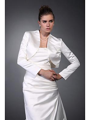 כורכת חתונה מעילים / מעילים שרוול ארוך סאטן שנהב חתונה / מסיבה / ערב / משרד וקריירה חולצת טי פתח חזית