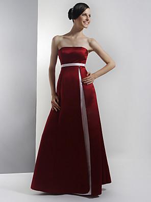 Lanting Bride® עד הריצפה סאטן שמלה לשושבינה - גזרת A סטרפלס פלאס סייז (מידה גדולה) / פטיט עם סרט / שסע קדמי