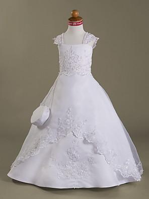 Lanting Bride A-Linie / Princess Na zem Šaty pro květinovou družičku - Organza / Satén Bez rukávů Čtvercový sAplikace / Korálky / Vzor /