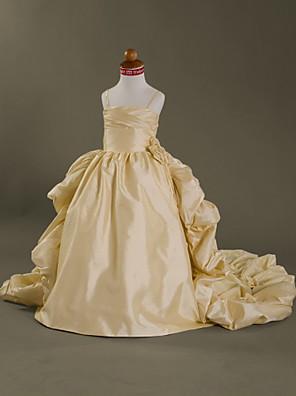 Lanting Bride Plesové šaty Velmi dlouhá vlečka Šaty pro květinovou družičku - Taft Bez rukávů Špagetová ramínka s
