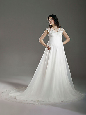 Lanting Bride A-line / Princess Maternity Wedding Dress-Court Train V-neck Lace / Organza