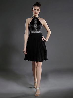 ALVITA - kjole til cocktail i chiffon og satin