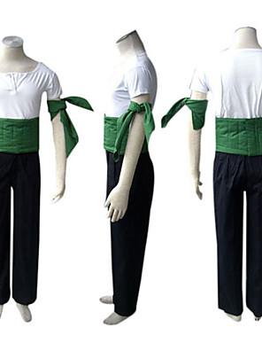 קיבל השראה מ One Piece Roronoa Zoro אנימה תחפושות קוספליי חליפות קוספליי טלאים לבן / שחור / ירוק קצר חולצת טי / מכנסיים / שרוול / חגורה