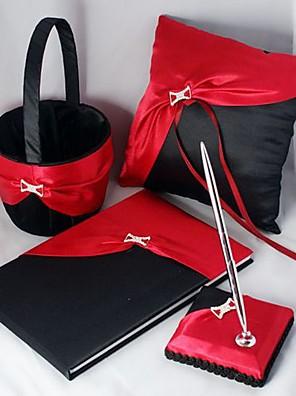 elegáns esküvői kollekció meghatározott vastag piros és fekete szatén (4 darab)