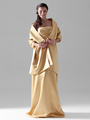 Lanting Bride® עד הריצפה סאטן שמלה לשושבינה - מעטפת \ עמוד סטרפלס פלאס סייז (מידה גדולה) / פטיט עם בד נשפך בצד