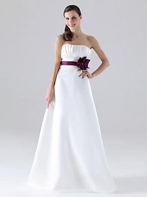 Lanting Bride® עד הריצפה סאטן שמלה לשושבינה - גזרת A / נסיכה סטרפלס פלאס סייז (מידה גדולה) / פטיט עם כפתורים / תד נשפך / פרח(ים) / סרט