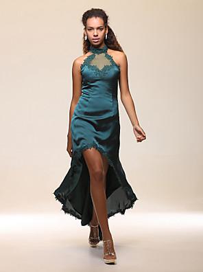 מסיבת קוקטייל שמלה - גבוה נמוך מעטפת \ עמוד קולר / צווארון גבוה עד הריצפה / א-סימטרי סאטן נמתח / סאטן שיפון עם אפליקציות