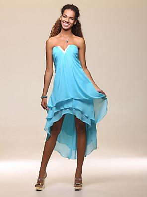מסיבת קוקטייל / חגים שמלה - גבוה נמוך מעטפת \ עמוד סטרפלס / וי קטן באורך הקרסול / א-סימטרי שיפון עם חרוזים / בד נשפך בצד