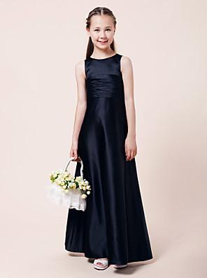 Lanting Bride® Longo Cetim Vestido de Daminha de Honra Linha A / Princesa Decorado com Bijuteria Natural com Pregueado / Franzido