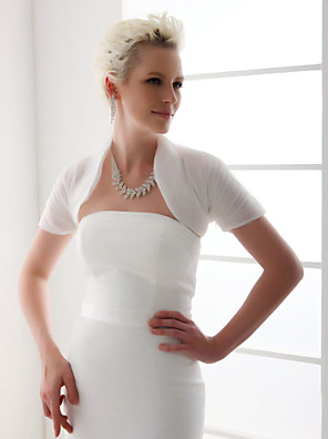 Wedding  Wraps Shrugs Short Sleeve Organza White Wedding T-shirt Open Front
