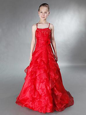 Lanting Bride® עד הריצפה אורגנזה / סאטן שמלה לשושבינות הצעירות  גזרת A / נסיכה רצועות ספגטי טבעי עםחרוזים / פרח(ים) / קפלים / בד נשפך בצד