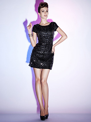 TS Couture® Cocktail Party / Holiday / Sweet 16 Dress - Little Black Dress Plus Size / Petite Sheath / Column Bateau Short / Mini Sequined with