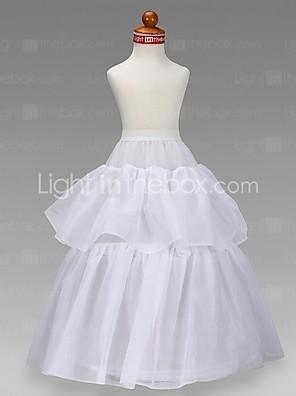 flor menina tafetá vestido de baile de nível 2 até o chão-slip / style casamento anáguas