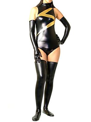 Black Mixed Color Shiny Metallic Women Spandex Leotard