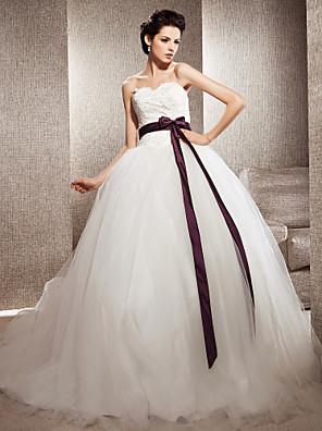 Lanting Bride® נשף קטן / מידה גדולה שמלת כלה - קלסי ונצחי / אלגנטי ויוקרתי שמלות חתונה צבעוניות / בהשפעת וינטאג' שובל כנסייה (צ'אפל)