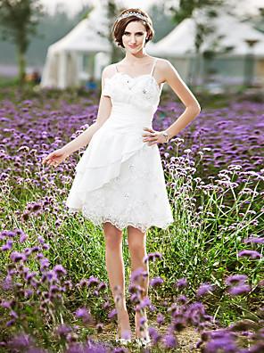 Lanting Bride® גזרת A / נסיכה קטן / מידה גדולה שמלת כלה - שיק ומודרני / לקבלת פנים שמלות לבנות קטנות באורך  הברך רצועות ספגטי תחרה / טפטה