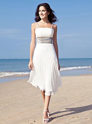 Lanting Bride® מעטפת \ עמוד קטן / מידה גדולה שמלת כלה - שיק ומודרני / לקבלת פנים שמלות לבנות קטנות באורך הקרסול רצועות ספגטי שיפון עם