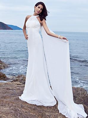 Lanting Bride® מעטפת \ עמוד קטן / מידה גדולה שמלת כלה - קלסי ונצחי / זוהר ודרמטיות שובל סוויפ \ בראש קולר שיפון עם