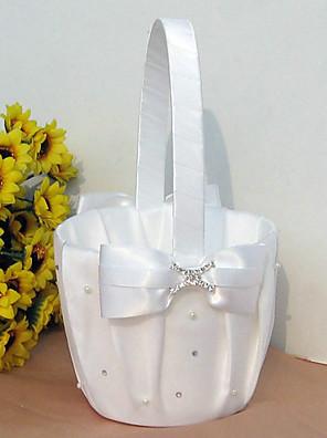 bloemenmand in wit satijn met strik en strass