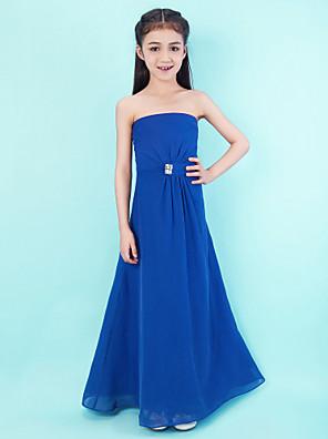 Lanting Bride® עד הריצפה שיפון שמלה לשושבינות הצעירות  גזרת A סטרפלס טבעי עם פרטים מקריסטל / בד נשפך בצד