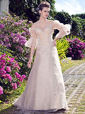 小柄な花嫁のAライン/プリンセスランティング/プラスサイズのウェディングドレス床の長さのオフショルダーオーガンザ