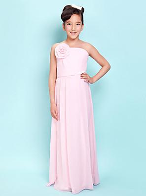 Lanting Bride® עד הריצפה שיפון שמלה לשושבינות הצעירות  מעטפת \ עמוד סטרפלס טבעי עם פרח(ים) / סרט / בד נשפך בצד