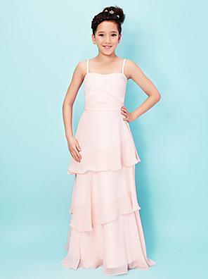Lanting Bride® Na zem Šifón / Elastický satén Šaty pro malou družičku A-Linie / Princess Srdce / Špagetová ramínka Přirozený s Vrstvy