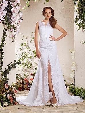Lanting Bride® Linha A / Princesa Pequeno / Tamanhos Grandes Vestido de Noiva - Elegante e Luxuoso Cauda Capela Decote V Renda com