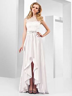 TS Couture® Formal Evening Dress - Elegant / High Low Plus Size / Petite A-line / Princess Jewel Floor-length / Asymmetrical Organza / Stretch Satin
