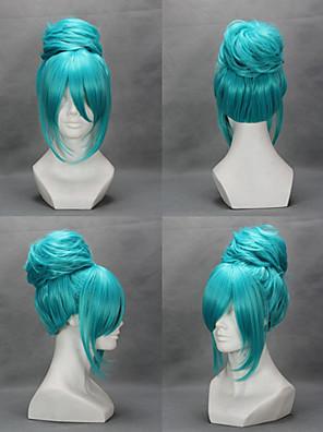 Perucas de Cosplay Vocaloid Hatsune Miku Azul Médio Anime/Games Perucas de Cosplay 45 CM Fibra Resistente ao Calor Feminino