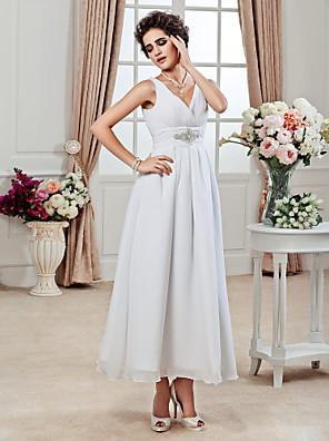 Lanting Bride® Linha A / Princesa Pequeno / Tamanhos Grandes Vestido de Noiva - Chique e Moderno / Recepção Até o Tornozelo Decote V