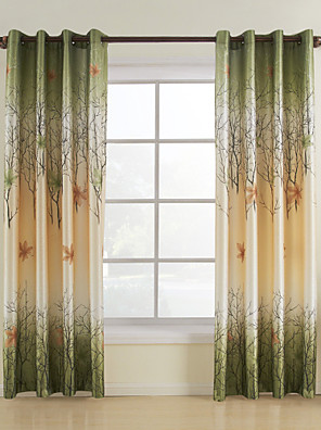 To paneler Vindue Behandling Rustik , Blad Stue Polyester Materiale Gardiner forhæng Hjem Dekoration For Vindue
