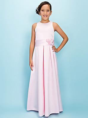 Lanting Bride® Longo Cetim Vestido de Daminha de Honra Linha A Decorado com Bijuteria Natural com Pregueado / Flor(es) / Faixa / Fita